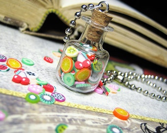 Jar of Clay Fruits - Square Glass Bottle Necklace Charm - Cork Vial Pendant - Kawaii Fruity