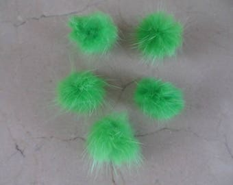 set of 5 Green 30 mm rabbit fur PomPoms