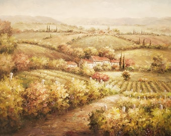 Tuscan Vineyard - 36x48 - 100% Hand Painted Oil Painting on Canvas