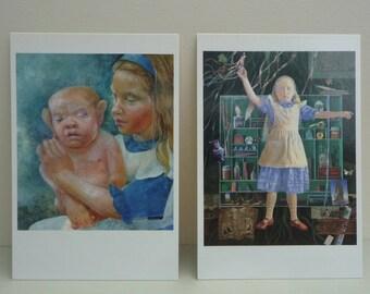 Vintage Alice In Wonderland Ann & Graham Arnold Signed Artist Postcards