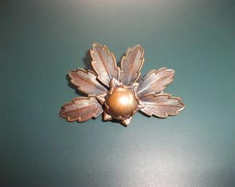 Vintage Bell Copper Leaf Spray Brooch Pin