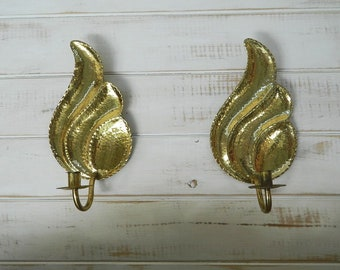 Pair of Hammered Brass Wall Sconce Candle Holders - Made in Sweden