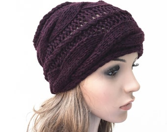Hand knit woman hat beanie Plum wool hat cable hat
