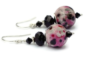 Lampwork Glass Earrings - Pink Glass Earrings - Black Glass Earrings - Pink Black Earrings - Black Pink Earrings - Black Pink Silver