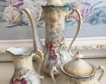 Vintage RS Prussia Coffee Pot - Sugar & Creamer - Aqua and Pink - Gold Trim - Germany Coffee Pot/Creamer Sugar