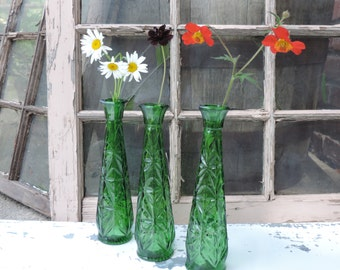 Vintage Green Bud Vases Set of Three Emerald Green Bud Vases Home Decor Wedding Decor Brides Party Gift