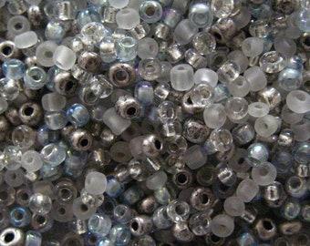 Glacial bleu 10/0 rocaille perle Mix 15 grammes