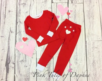 Valentines Day pajamas for children, Childrens Christmas pajamas, Xmas pjs, Drop seat pjs, Trap door pjs, 1 and 2 piece Christmas pjs, Drop