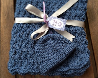Crochet Baby Blanket with Matching Hat - Country Blue