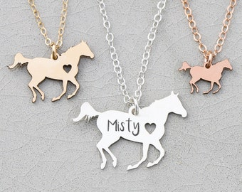 Racing Horse Necklace • Personalized Horse Lover Gift Horse Jewelry • Silver Horse Barrel Racing Horse Running Rodeo Riding Lessons Gift