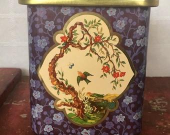 Vintage Holland Tin, Tea Tin with Lid, Asian Landscape Design