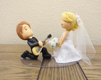 Couple Wedding Cake Topper, Wedding Cake Topper, Cute Cake Topper, Custom Cake Topper, Musical Cake Topper