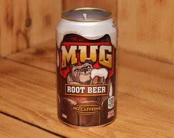 Hand Poured Soy Candle in Handmade Upcycled Mug Root Beer Soda Can