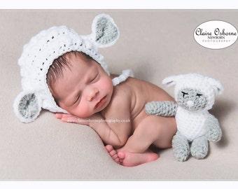 Newborn lamb bonnet, newborn sheep bonnet, newborn lamb teddy bear, newborn sheep hat, newborn lamb hat, newborn photo prop, easter prop