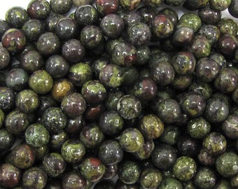 "6mm dragon blood jasper round beads 15.5"" strand 15005"