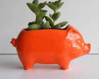 Pig Planter, Ceramic Pig, Pig Gift, Mini Pig, Desk Planter, Vintage Design, Orange Decor, Succulent Planter, Cactus Pot, Sponge Holder
