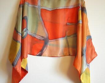 Silk blouse hand painted-Silk scarf- Scarves for her-Wedding silk top-Silk handpainted-Ooak silk blouse-Silk orange-green-tan-grey-55x18in