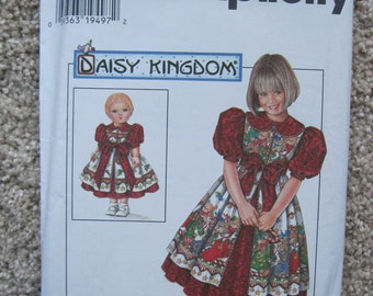"UNCUT Girls Dress and Pinafore and Doll Dress for 17"" Doll - Simplicity Sewing Pattern 7349"