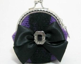 Crochet, crocheted, Gothic purse, purple purse, bow change purse, coin purse, change purse, goth purse, goth crochet, change purse