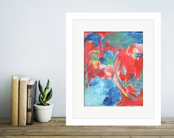 Giclee Print of Original Acrylic Painting: Red & Blue