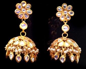 GOLD & Pearl JHUMKA EARRINGS,Kundan Jhumkas,Large Dome earrings,jhumkis,Indian Jewellery by Taneesi