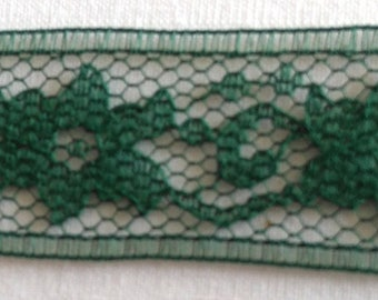 Antique lace - dark green with flowers 210 cm x 2 cm