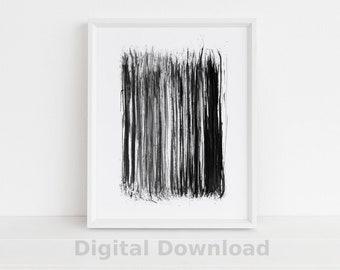 Black & White Stripes Wall Art - Abstract Printable Art - Minimalist Poster - Watercolor Painting - Scandinavian Art - Large Wall Art