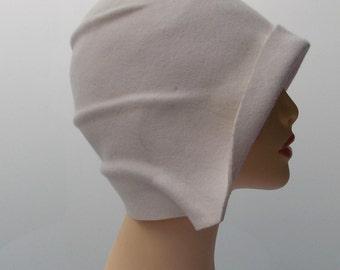 Cloche hat, 20s hat, 20s style hat, Vintage hat, Retro hat, Felt hat, Wool hat, Ivory hat, Handmade hat, Winter hat
