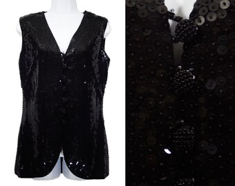 Vintage 60's Black Sequined & Beaded Vest M