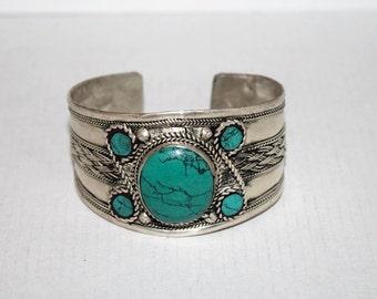 Turquoise Bracelet, Boho bracelet, Silver Bracelet, Tribal Bracelet, Gypsy bracelet, Turquoise jewelry, Tibetan bracelet Hippie Bracelet