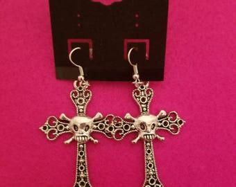 Cross and Skull Earrings