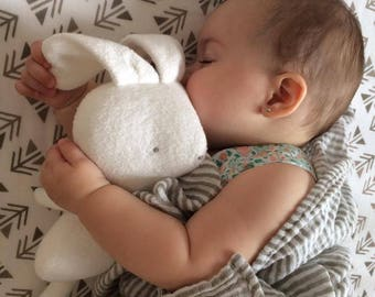 Bunny soft and silky plush - White - First baby toy handmade with love - Minimalist toy-  Eco-friendly toy