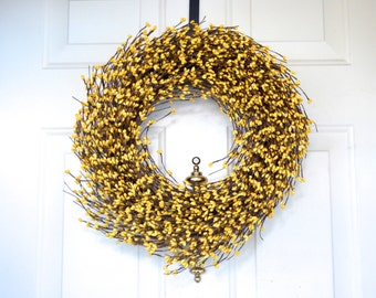 New Yellow wreath Spring Summer Wreath Easter wreath Front door decor Yellow Berry Wreath Year round decor Wedding wreath Grapevine Wreath