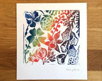 Original lino print 'Hello Flower' by Bethany Moore