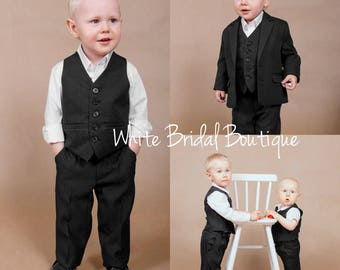 Set of 4 wedding suit Ring bearer outfit Baby boy outfit Wedding boy suit Wedding boy outfit Boy formal wear Formal boy outfit Wedding suit