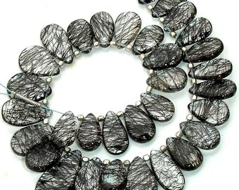 New Arrival,Truly Rare Quality Lager Size BLACK RUTILATED Quartz Smooth Pear Shape Briolettes.