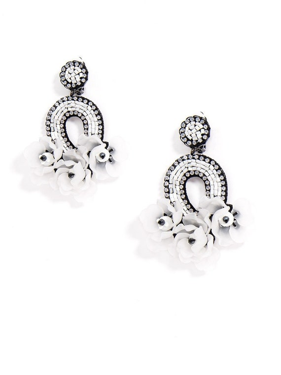 Aurora Beaded Floral Bouquet Statement Earring