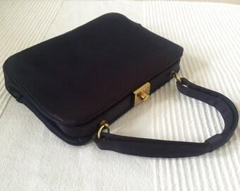 Vintage INGBER Navy Blue Evening Top Handle Structured Bag Purse