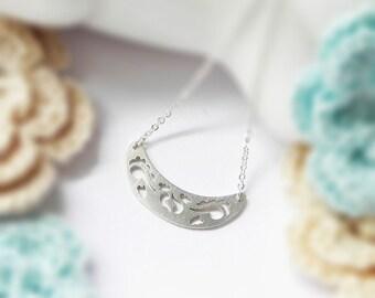 Dekorative Bow Halskette, Sterling Silber