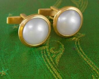 Vintage Light Grey Moonglow Cufflinks Gold Wedding groom estate formal tuxedo cuff links