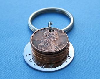 Lucky Us Penny Key Chain - Six Penny USA Coin Charm Custom Penny Keychain Personalized Penny Key Chain