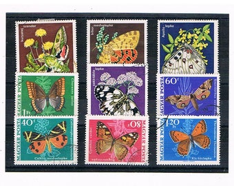 Butterflies & Moths on Hungary Postage Stamps | colourful butterfly postal stamps, thematic used stamps | craft collage upcycle decoupage