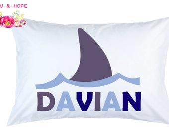 Shark Pillowcase, Shark Fin Personalized Pillowcase, Shark Travel Pillow, Shark Pillow Cover, Baby Shower, 1st Birthday Gift, Toddler Pillow