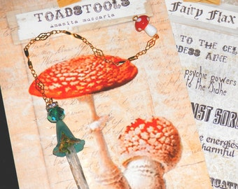 TEAL Bluebell Fairy CRYSTAL Divination PENDULUM with Toadstool