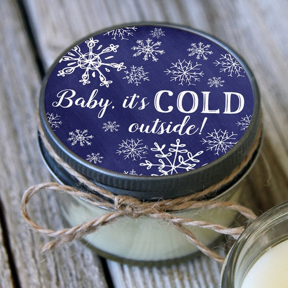 Snowflake favor Set of 12 - 4 oz Candles - Baby it's Cold Outside - Winter Baby Shower