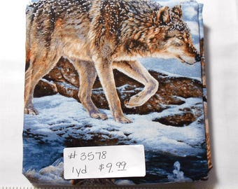Fabric - 1yd piece-Wolf/Wolves/winter/Narragansett Creek (#3578) Wild Wings/Springs Creative 62555
