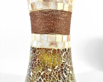 Stained Glass Mosaic Vase w/Seashell Tiles and Rope - Large