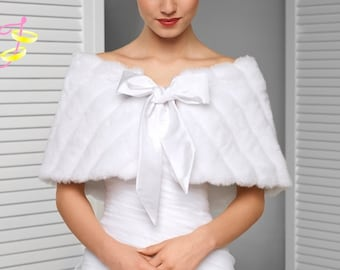 Wedding shawl faux fur with bow for a wedding dress or evening dress