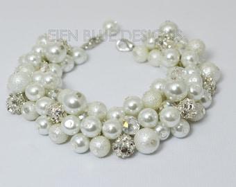 Pearl Bracelet, White Pearl and Rhinestone Bracelet, Cluster Bracelet, Chunky White Bracelet, Pearl Cluster Bracelet,  White Bridal Bracelet