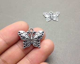 20 pcs of Antique Silver Butterfly Connector Charms 15x25mm